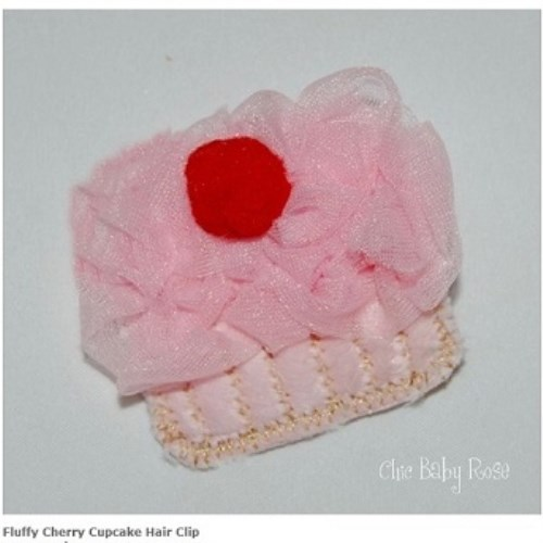 【HELLA 媽咪寶貝】美國 Chic Baby Rose 手工髮夾 櫻桃杯子蛋糕款 (8種顏色選擇)