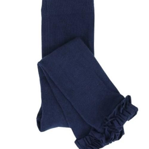 【HELLA 媽咪寶貝】美國 RuffleButts 小公主甜美荷葉邊內搭褲襪 海軍藍(RBRT010)