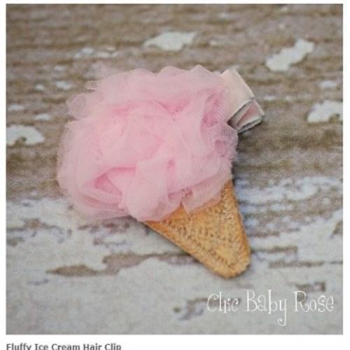 【HELLA 媽咪寶貝】美國 Chic Baby Rose 手工髮夾 冰淇淋款 (8種顏色選擇)
