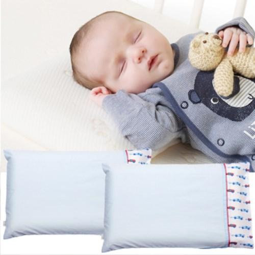 【奇哥 ClevaMama】防扁頭嬰兒枕-專用枕套2入(藍色小車)