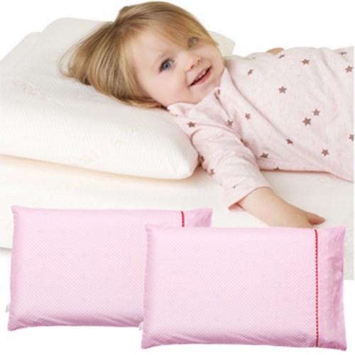 【奇哥 ClevaMama】防扁頭幼童枕-專用枕套2入(粉色點點)